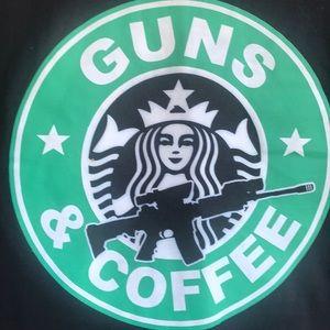 Guns & Coffee XL T Shirt